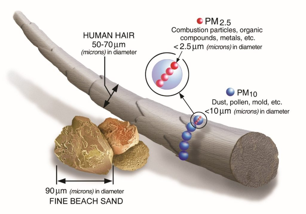 PM 2.5 air pollution particle size compared to a human hair